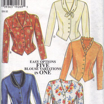 Simplicity 6555 New Look Sewing Pattern 80s Fitted Blouse Jacket Button Front Tapered Waist Tie Ruffle Pointed Collar Uncut Bust 34 36 38