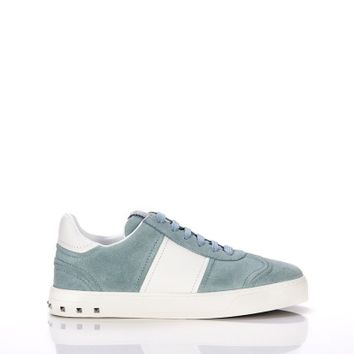 Valentino Fly Crew Sneaker in Light Blue Suede- Shop Luxury Footwear | Editorialist
