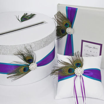 Wedding set - card box and guest book and ring pillow - peacock feathers