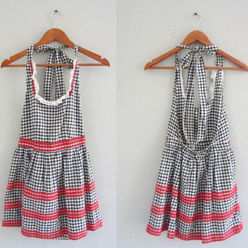 Vintage 1950s Apron // Black and White Checkered Apron // Red Trim // Size XS // Pinny