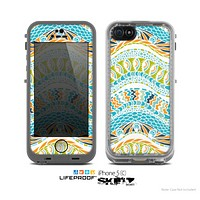 The White Vector Teal & Green Snake Aztec Pattern Skin for the Apple iPhone 5c LifeProof Case