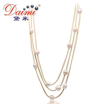 DAIMI 9-10MM Natural White Baroque Pearl & Leather 3 Layer Necklace Long Jewelry Pearl Necklace