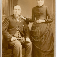 Cabinet Card Photo Victorian Married Couple, Man Sitting, Woman Standing Portrait - Lowthian Bros. of Grimsby - Antique Photograph