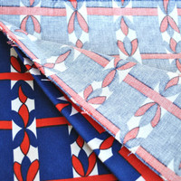 Vintage red navy cotton fabric with geometric ornament print, cotton fabric for craft projects