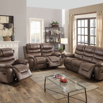 Poundex F6756-57 2 pc Carlsbad collection dark coffee breathable leatherette upholstered sofa and love seat set with reclining ends