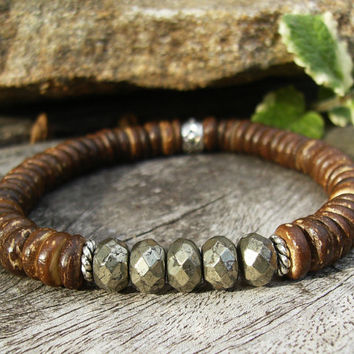 Men's Brown Stretch Bracelet, Unisex Coconut Shell Faceted Pyrite Fool's Gold Beaded Bracelet, Rustic, Rugged, Casual, Beach, Southwest