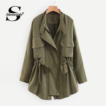 Trendy Sheinside Plain Stand Collar Drawstring Workwear Jacket Office Ladies Zipper Regular Fit Military Women Autumn Casual Jackets AT_94_13