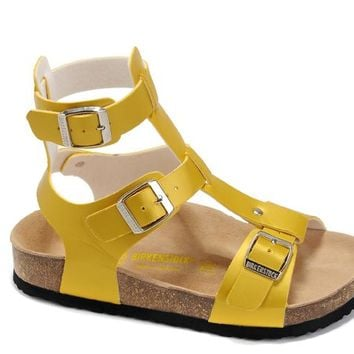 Birkenstock leather cork flats ladies casual sandals shoes soft insole slippers