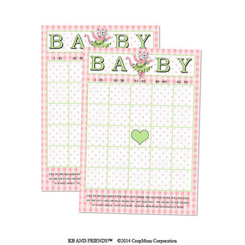 "Digital Baby Shower Bingo Cards/ pink retro baby girl / 5"" by 7"" / downloadable / printable / DIY / baby shower party supply / ballerina"