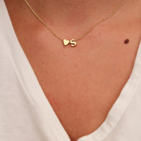 Dainty Lowercase Initial Necklace | Initial and Heart Necklace | Gold Initial Necklace |