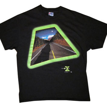 Vintage X-Files Green Glow Highway Black T-Shirt XL X-Large 90's Sully Mulder Aliens