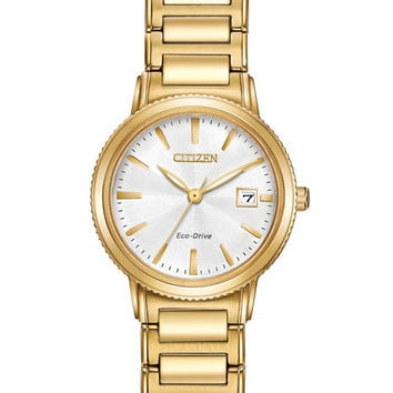 Citizen Eco-Drive Womens Watch - Gold Tone - Stainless Steel - Date - White Dial