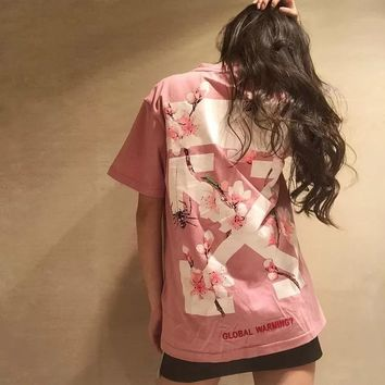 Summer personality OVERSIZE pink black cherry blossom arrow, short sleeve T-shirt for men and women