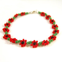 Childrens Bracelet, Poppy Bracelet, Little Girls Bracelet, Beaded Red Flower Bracelet, Childrens Jewelry UK