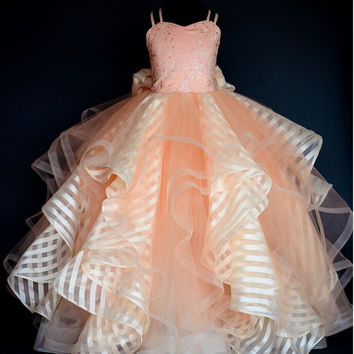 long ruffles ball gowns pageant dress for girls prom dresses kids birthday evening party gowns peach flower girl dresses