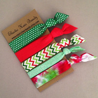 The Nicolette Holiday Hair Tie-Ponytail Holder Collection - 5 Elastic Hair Ties by Elastic Hair Bandz on Etsy
