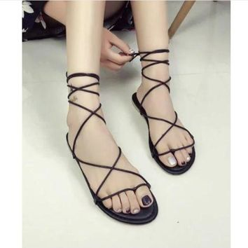 women thong Faux Leather Strappy Roman Goth Gladiator Lace Up