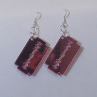 Mirror Pink Razor Blade Earrings, Kawaii, Emo, Goth, Acrylic Jewellery