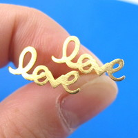Love Cursive Stud Earrings in Gold with Sterling Silver Posts from Dotoly Plus