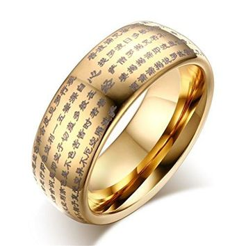 8mm Tungsten Carbide Gold Plated Chinese Heart Sutra Religious Ring Domed Design High Polished