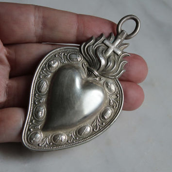Antique French Heart Ex Voto -Sacred Heart  -Silver Pendant