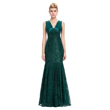 Lace Evening Dresses Long Party Dress Green Blue Mother of the Bride Dresses Mermaid Evening Gowns