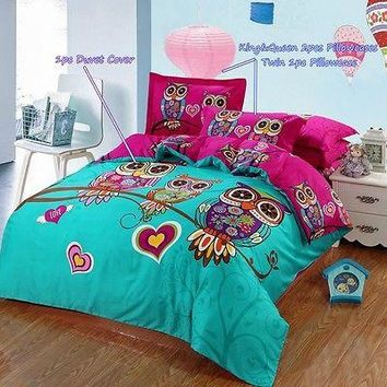 Cliab Owl Bedding Girl Duvet Cover Set Queen Size 6 Pieces 100% Cotton