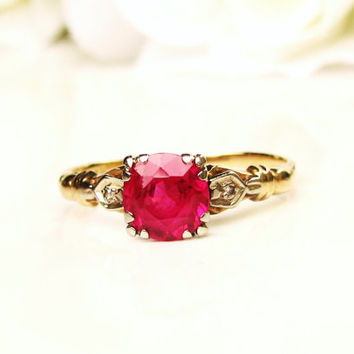 Vintage Ruby& Diamond Accent Ring 0.84ct Synthetic Ruby Alternative Engagement Ring 14K Two Tone Gold Valentine Day Ring!
