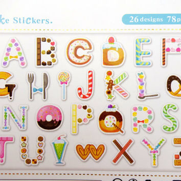 78 Japanese dessert alphabet sticker flakes - ABC stickers - English letters - candy - treats - sweets - macarons - doughnuts - cookies