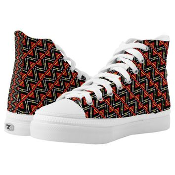 Tribal Arrowheads Chevron Pattern in Red and Black Printed Shoes