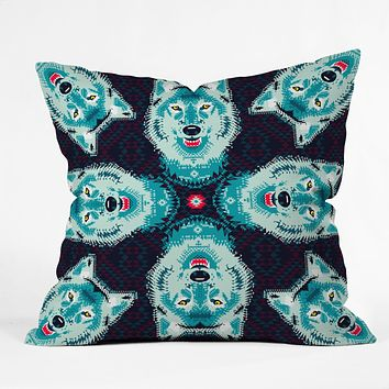 Chobopop Geometric Wolf Throw Pillow