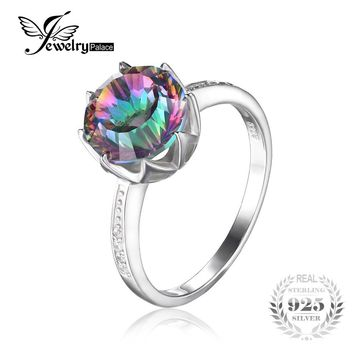 4.3 ct Rainbow Fire Mystic Topaz Round Concave Cut Genuine Solid 925 Sterling Silver Ring Antique Fashion Jewelry Size 6 7 8 9