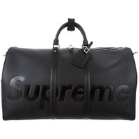 Louis Vuitton Supreme NEW Black Leather Men's Travel Duffle Carryall Bag in Box