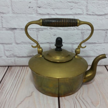 Vintage Small Brass Tea Pot With Wood Handle