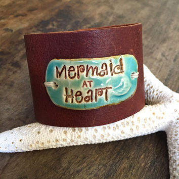 Mermaid at Heart, Summer Beach, Rustic Leather Ceramic Cuff by Two Silver Sisters