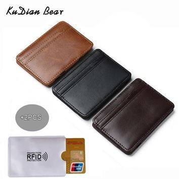 KUDIAN BEAR Slim Leather Men Wallet Magic Brand Designer Men Wallet Card Holder Korean Bilfold Clamps for Money BID224 PM49