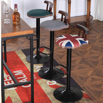 Home Bar Stools Retro Swivel Counter Cafe Chair With Backrest