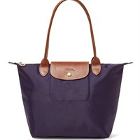 Longchamp Le Pliage Medium Shoulder Tote in Purple Bilberry 2017 0087