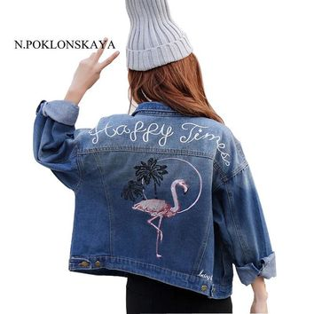 Trendy Women Big Size Cropped Jean Jacket Blue Back Embroidery Bird Bomber Short Denim Jakcets Female Winter Casual Ripped Jeans Coat AT_94_13