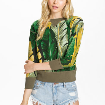 Green And Yellow Leaves Print Sweatshirt