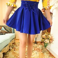 Vintage Inspired Ultra High Waist Neon Blue Skirt