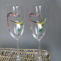 SALE PRICE Hand painted Wedding Toasting Flutes Set of 2 Personalized Champagne glasses Hummingbird