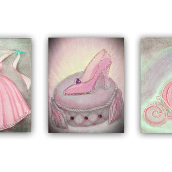Princess decor, Cinderella, Nursery wall art, Nursery prints, Pink, Princess Wall Art, Nursery decor, Kids Wall Art, Girl Nursery Art