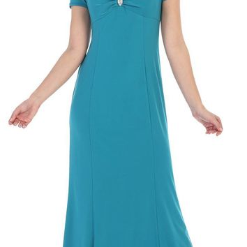 Jade Cold Shoulder Long Formal Dress with Brooch