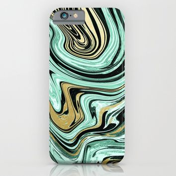 MARBELLOUS IN MINT AND GOLD iPhone & iPod Case by Nika