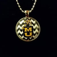 "MU Tigers Chevron 1"" Pendant Necklace"