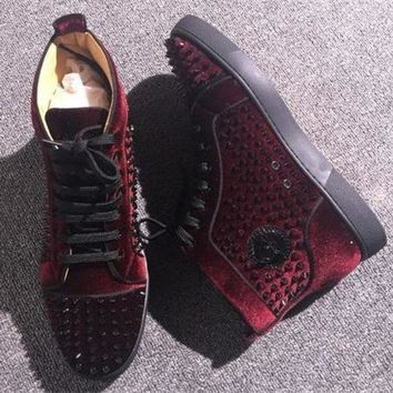 DCCKU62 Cl Christian Louboutin Louis Spikes Style #1882 Sneakers Fashion Shoes