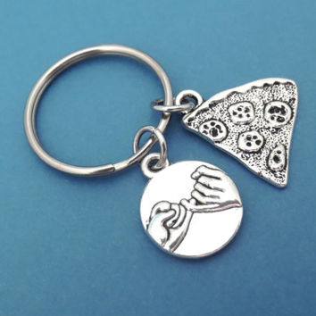 Promise, Pizza, Keychain, Keyring, Pizzas, Key Chain, Key Ring, Gift, Idea, Christmas, Gift, Birthday, Gift, Jewelry