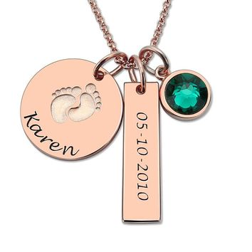 Baby Feet Birthstone Necklace  Personalized Name and Date Necklace Rose Gold Color