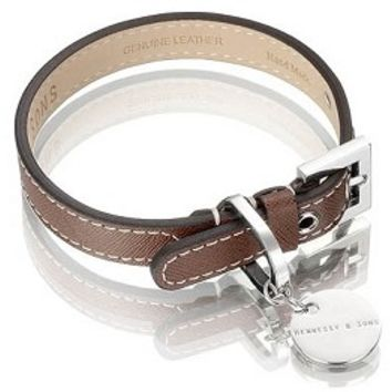Italian Saffiano Chocolate Leather Dog Collar by Hennessy and Sons at GlamourMutt.com